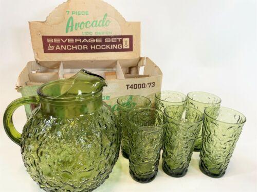 RARE Vintage ANCHOR HOCKING LIDO 7 pc Avocado Beverage Set Pitcher 6 Glasses