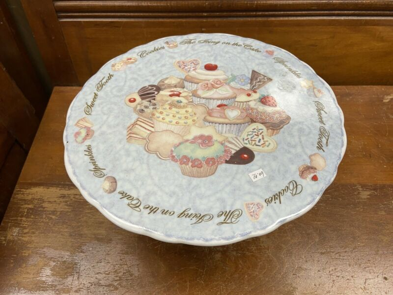 Cardew Designs England Cup Cakes & Cookies Cake Plate And Creamer