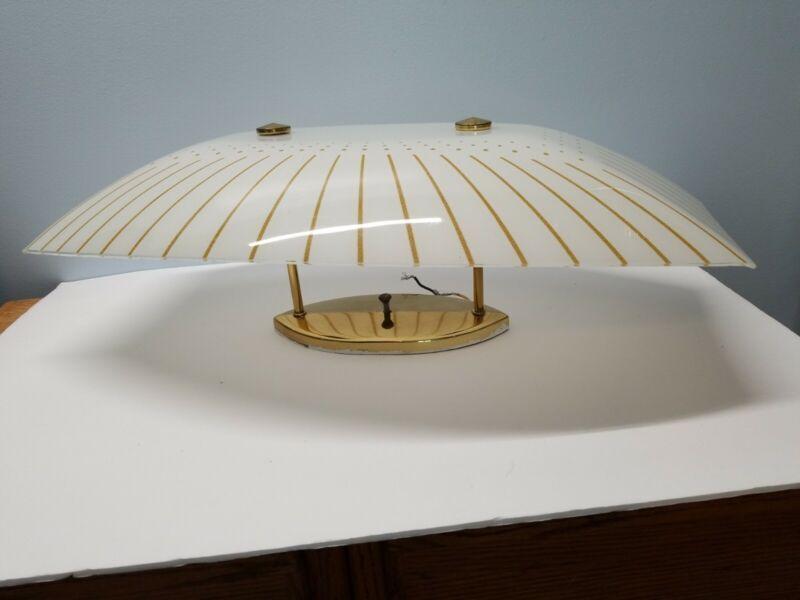 Vtg/MCM MOE LIGHT Gold Ceiling Fixture + Rectangular White Shade Gold Glitter