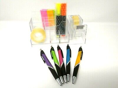 Desk Organizer Caddy Pencil Pen Holder Acrylic Office Supplies Storage Kit