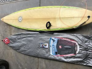 Retro Vintage Peter Woods Surfboard and rip curl bag