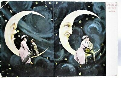 1907 POSTCARD SPOONING IN THE MOON, COUPLE KISSING ON THE MAN IN THE MOON