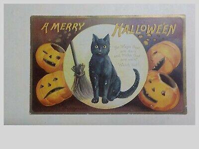 Old Vintage Original Posted 1909 A Merry Halloween Postcard Embossed