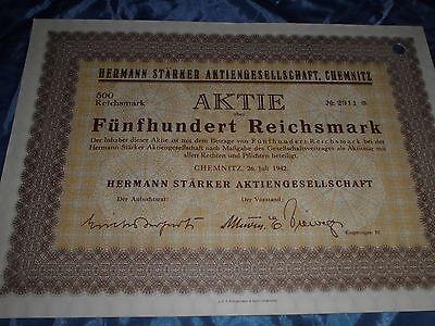 853 : deutsche Aktie / Wertpapier , 26. Juli 1942 , H. Stärker AG Chemnitz ,2911