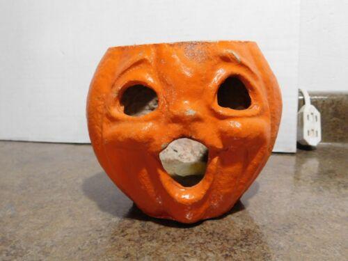 VTG Antique Paper Mache Pulp Halloween Jack-O-Lantern Lamp Pumpkin