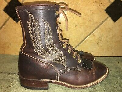 Larry Mahan 3245 Brown Leather Lace Up Paddock Boots Sz 8.5 - Lace Up Paddock Boot
