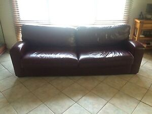 Dark red leather lounge Bolwarra Maitland Area Preview