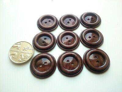 Set of 9 Brown Marbled Vintage Buttons 19mm
