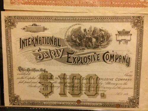 1890 international safety explosive company specimen stock certificate