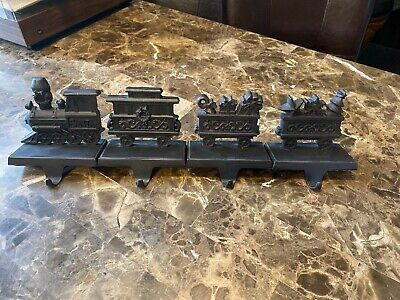 Set of 4 Bronze Tone Santa Train Christmas Stocking Holders Engine Cars Caboose