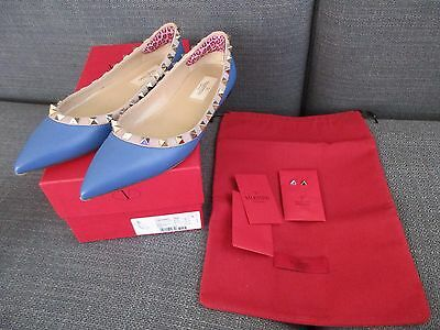 VALENTINO Rockstud Blue Leather Ballerina Pointed Flats Shoes 6 36 BOX Dustbag