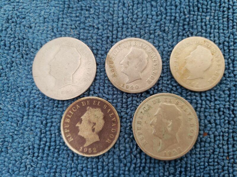 El Salvador (Lot of 5 coins) 5 centavos to 10c 1921-1952 **RARE OLD COINS**