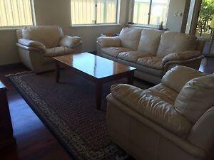 3 piece full leather lounge suite - 3 seater plus 2 singles Hammond Park Cockburn Area Preview