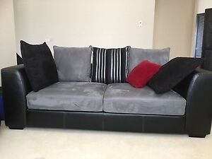 Two 3 x SEATER SOFA LOUNGES - Like NEW - Silver Grey Black White Cranebrook Penrith Area Preview