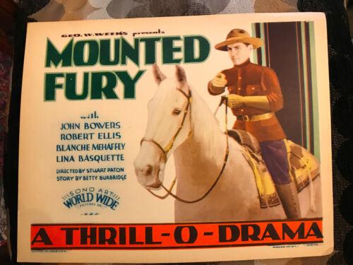 Mounted Fury 1930 World Wide title lobby card John Bowers Canadian Mounties