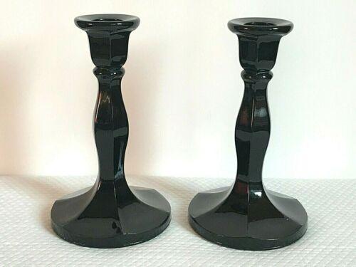 "Pair Estate Vintage Black Amethyst Glass 6.25"" 6 Panel Candle Holders"