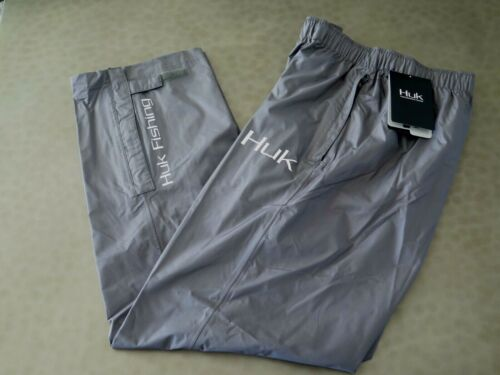 HUK H4000016 010 MENS CHOOSE SIZE GRAY PACKABLE FISHING & RAIN PANTS $100+