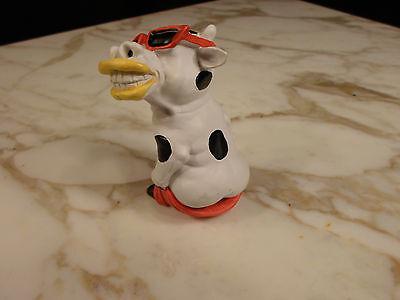 Black & White Holstein Smiling Wearing Sun Glasses FULL MOON  Cow Resin Figure