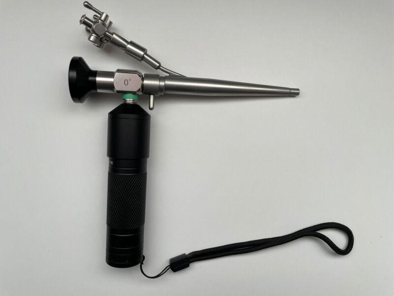 2.7mmX100mm Rigid Otoscope, 0° View, 5Fr Biopsy, Sheath, Stopcock, Light Source