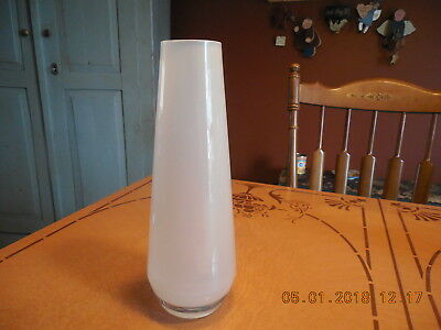 """11"""" WHITE FROSTED BULLET TYPE GLASS VASE NOT SIGNED"""