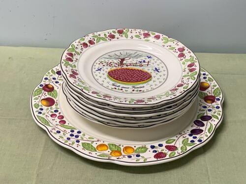 CRATE & BARREL  - LES TARTES -  SERVING PLATE PLUS 6 INDIVIDUAL DESSERT PLATES