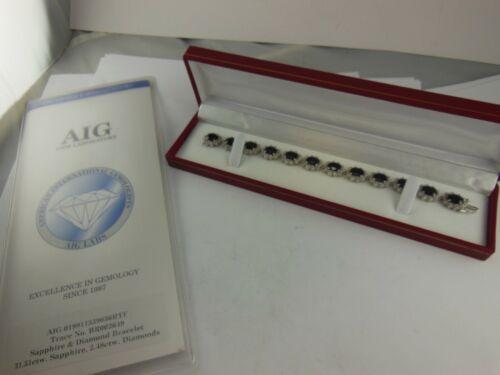 Vintage 14K White Gold Sapphire & Diamond Link Bracelet