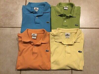Lot Of 4 Mens Lacoste Polos Size 5 Orange Blue Green Yellow Small/Medium