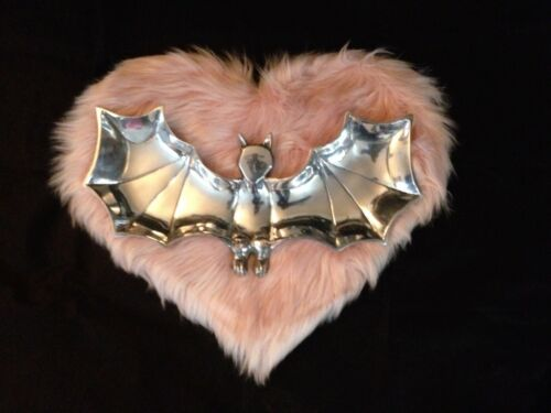 UNIQUE WINGED GOTHIC BAT PEWTER LARGE SNACK SERVING TRAY BOWL HALLOWEEN