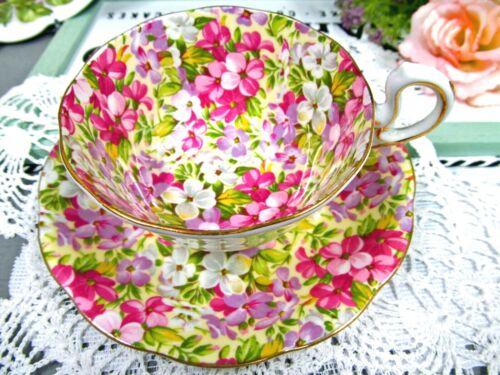 Royal Standard tea cup and saucer Virginia Stock Teacup floral pink chintz 1940s