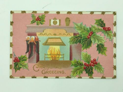 Unusual Christmas Pink Fireplace Holly Post Card Postcard