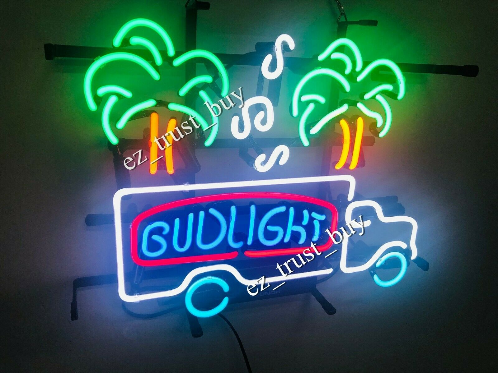 "Bud Light Truck Palm Trees Music Notes Beer Neon Sign 17""x13"