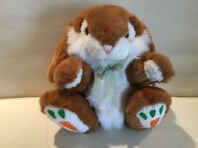 Brown White Bunny Rabbit Plush Stuff Animal Easter Bow Carrot Feet for sale  Shipping to Canada