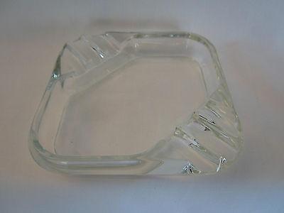 "Vintage Retro 4 1/2"" Square Clear Glass Ashtray six slots"
