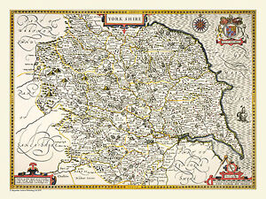OLD COUNTY MAP OF YORKSHIRE 1611 BY JOHN SPEED