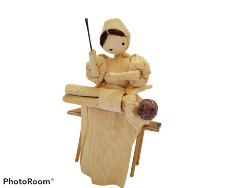 "VTG Corn Husk Doll Woman spanking child boy sitting on bench 5"" tall"