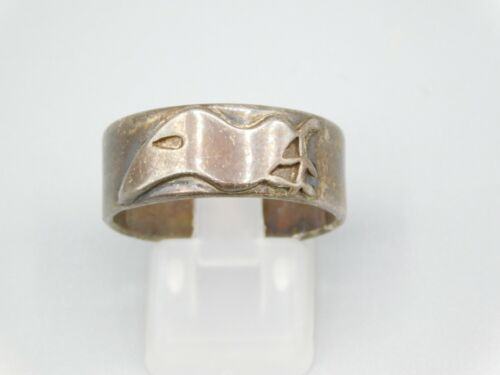 Vintage Sterling Silver 925 Signed Cal Farme? Bird Dove Branch Wide Band Ring