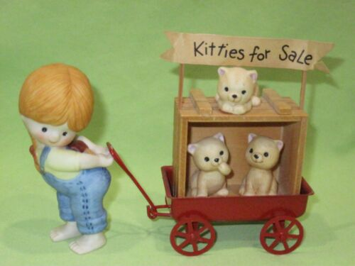 Enesco 1981 COUNTRY COUSINS Figurine KATIE w/ Cats in Red Wagon KITTIES FOR SALE