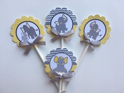 Elephant cupcake toppers /Yellow and Gray elephant/ elephant theme/ elephant ](Yellow Birthday Theme)