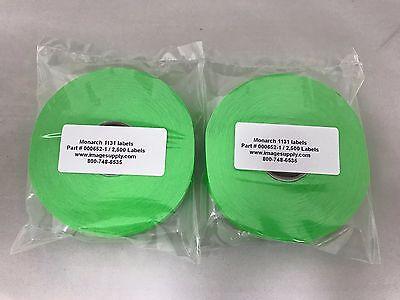 2 Rolls Genuine Monarch Paxar 1131 Fluorescent Green Labels 000652 Fg-151