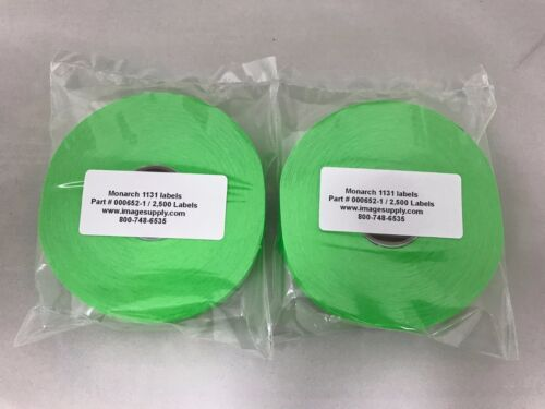 2 Rolls GENUINE Monarch Paxar 1131 FLUORESCENT GREEN LABELS 000652 / FG-151