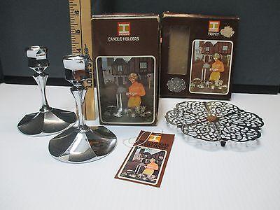 Vintage 1971 Irvinware TRIVET & CANDLESTICK Set
