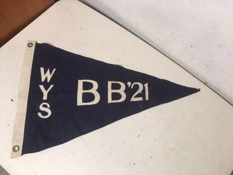 Antique Westhampton Yacht Squadron Burgee Pennant Long Island WYS BB 21 1921? 2