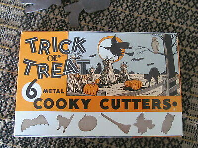 Vintage Trick or Treat Halloween Cookie Cutters Set of Six in Original Box