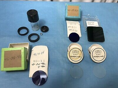 Various Lot Of 5 Microscope Filter Zeiss Germany Etc. Diffuser Lens Optics