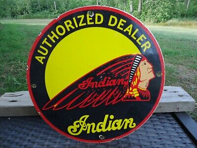 OLD VINTAGE 1950'S INDIAN MOTORCYCLES PORCELAIN DEALER ADVERTISING SIGN