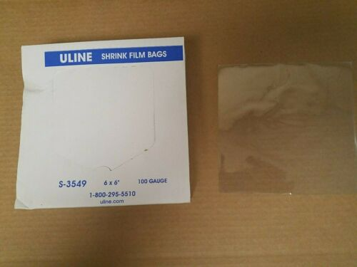 "ULine S-3549 PVC Shrink Film Bags New Sealed Box of 500 6"" x 6"" 100 gauge"