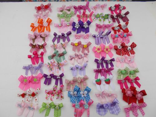 100 Fancy Dog Pet Child Baby Grooming Bows 2 sizes color variety Lot  # 11