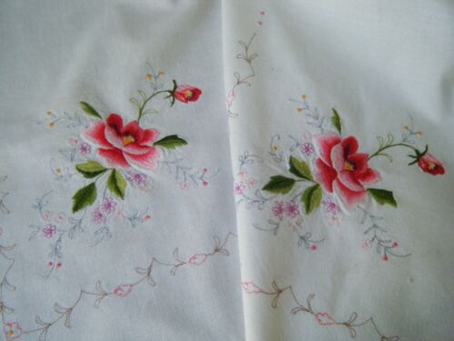 """Vtg Tablecloth kitchen cotton embroidered beautiful rosses &tenerife lace 68"""""""