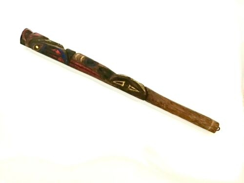 Ancient Northwest Indian Carved Totem Pole. Brilliant Colors 27 Inches