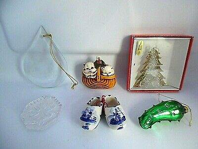 6 Glass/Ceramic Figural Christmas Ornaments Tree, Pickle, Cats in Basket, Shoes+